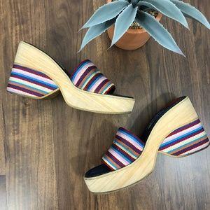 Vintage 90's BC Platform Sandals / Denim, Stripe